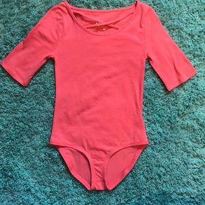 Justice Coral Bodysuit with crisscross neck